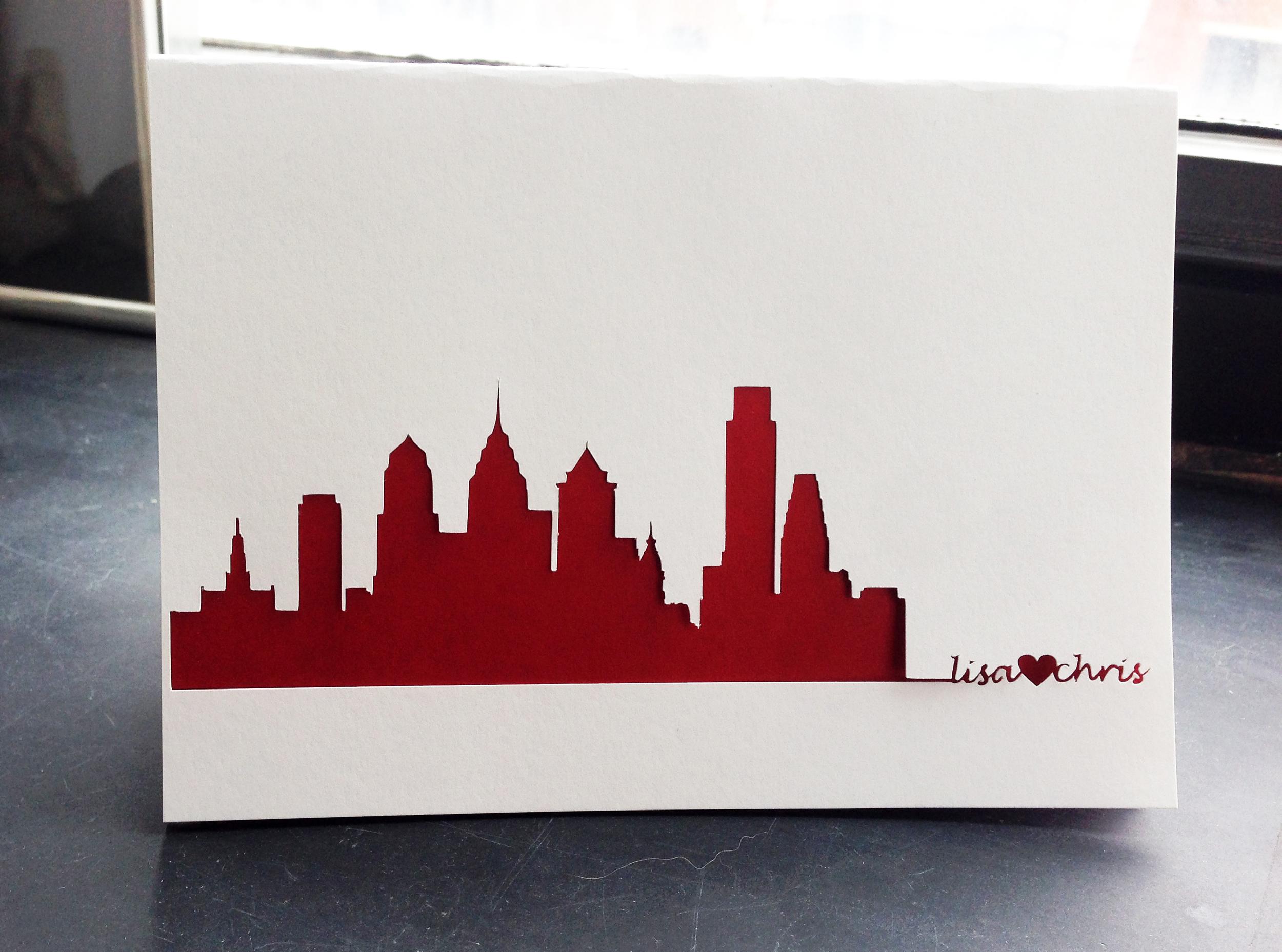 Philadelphia Skyline Wedding Card