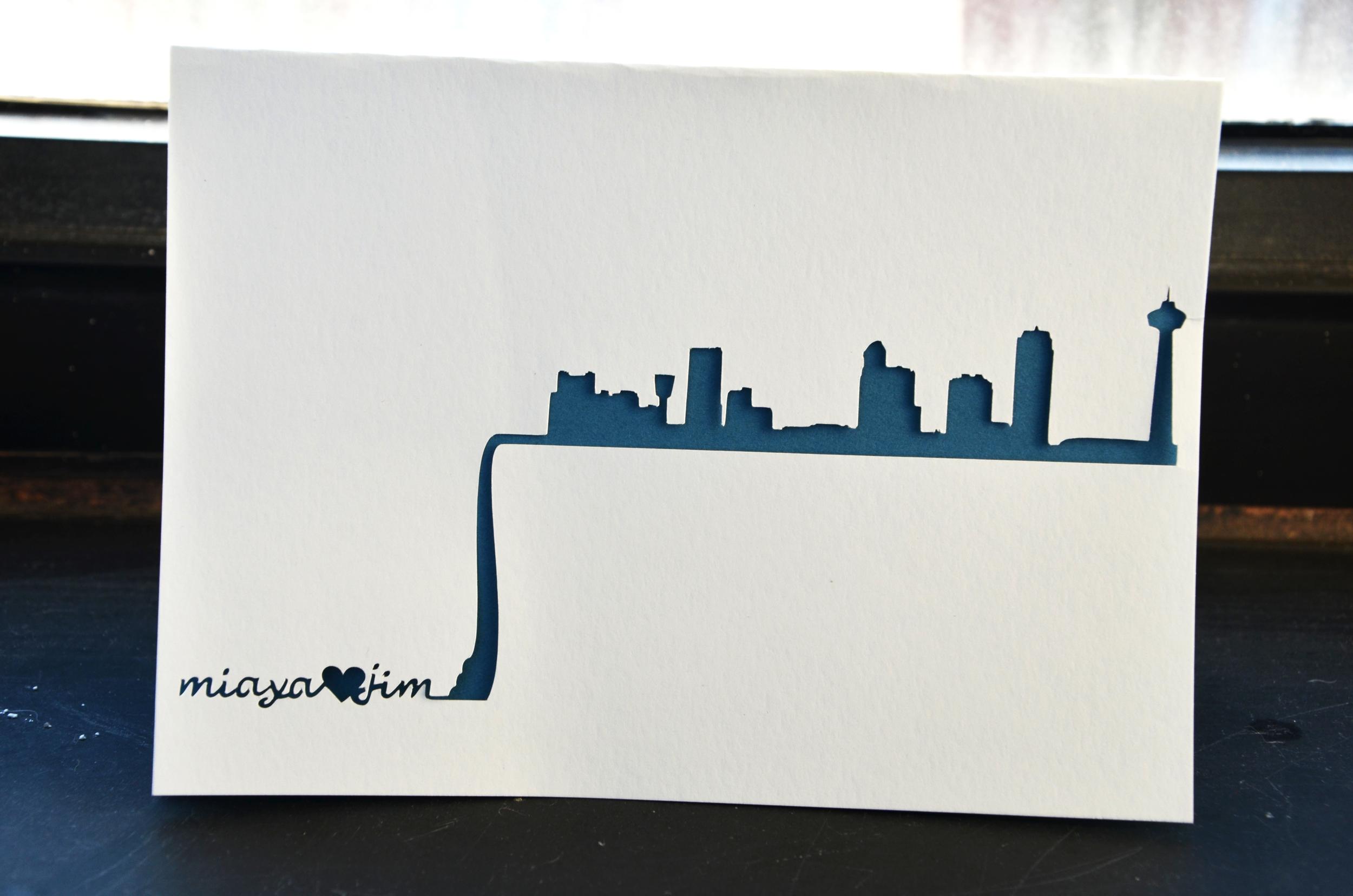 Niagara Falls Skyline Wedding Card