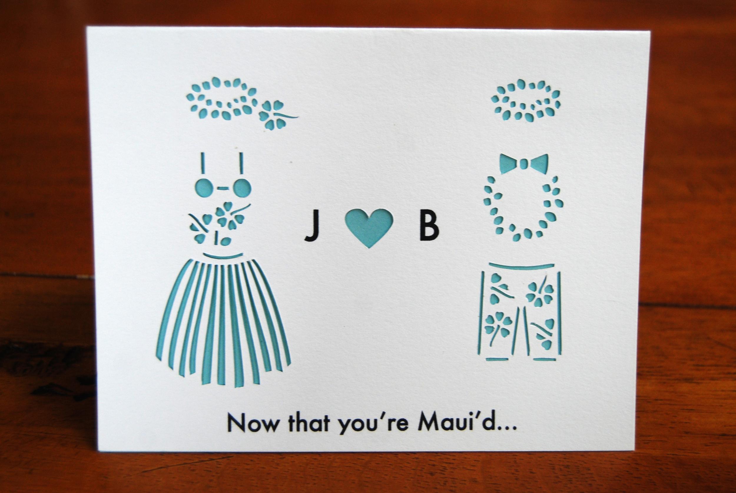 A Custom Wedding Card for a Wedding in Hawaii