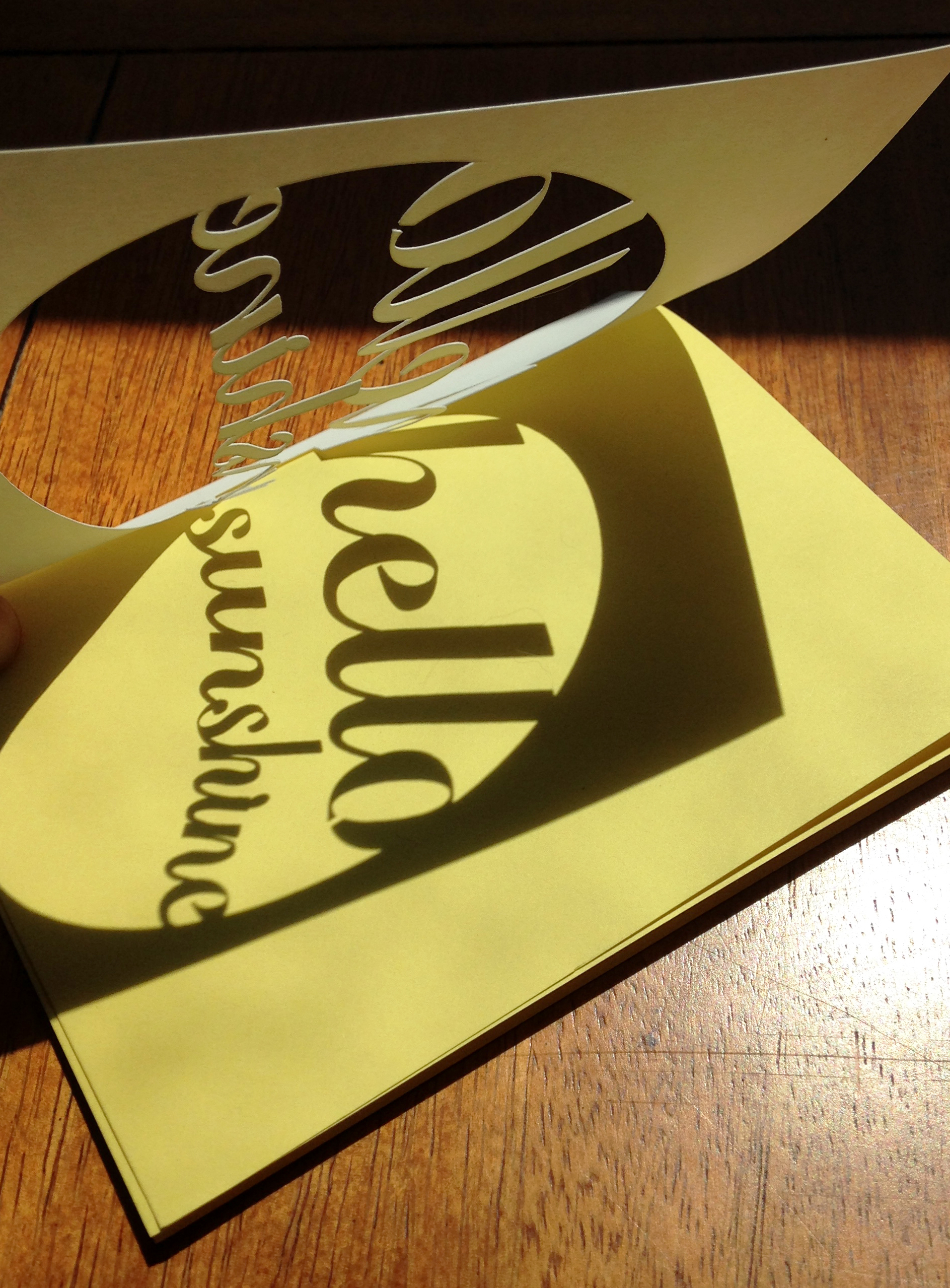 "Our new ""hello sunshine"" card in yellow."