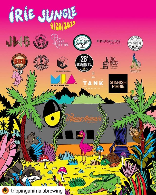 Plans for #saturdaze! 😉 Head out to Trippin Animals Brewing in Doral for this epic event!  #Repost @trippinganimalsbrewing • • • • • #IrieJungle19 #420 #StayTrippy #Beer #Festival #IndependentCraftBrewery #IrieVibes #Doral #Florida