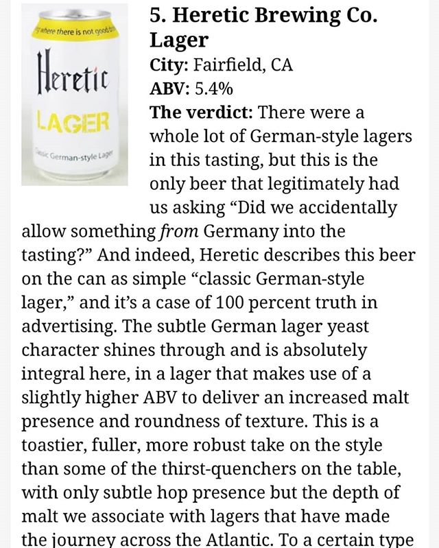 Congratulations @hereticbrewing for taking #5 in the @pastemagazine top lagers in the #USA!! If you haven't tried this delicious beer I would definitely suggest putting it on your list! #lager #craftbeer #realbeer #independentbrewery
