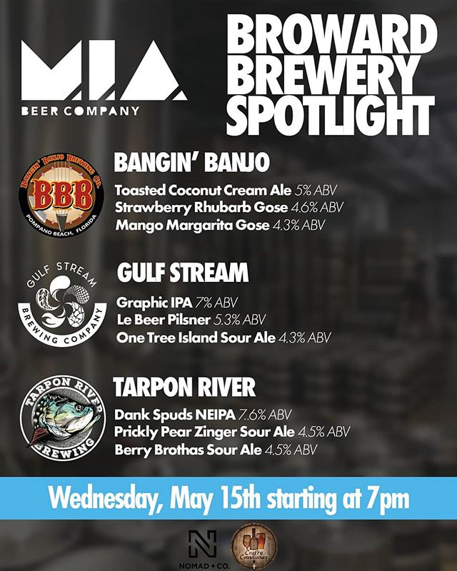 Hey #miami!!! Head over to @miabeerco on Wednesday for the #browardcounty brewery invasion!!!! #americancraftbeerweek #Doral #weeknightdinner #craftbeer #drinklocal