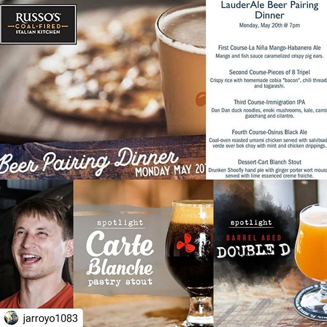 Dinner plans? You should be @russos_pines tonight for the @lauderale  beer and food pairing! Delicious food and award-winning craft beers = no brainier! Still time to make those reservations... #pembrokepines #craftbeer #mondaynight #dinnerplans