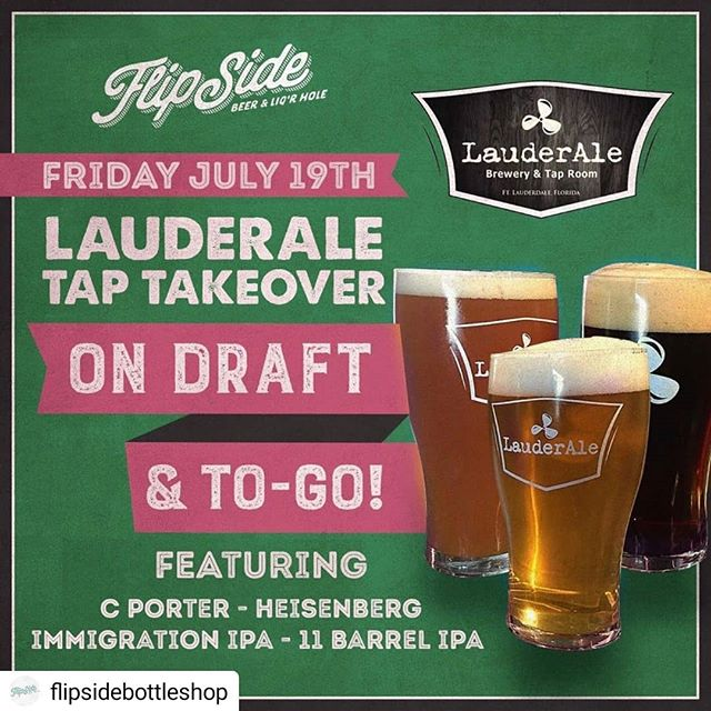 It's#Friday!  Head over to Flipside Bottle Shop and @thebendmiami tonight for a LauderAle tap takeover! 😍🤤 #Repost @flipsidebottleshop • • • • • This Friday night join us for a LauderAle tap takeover and drink (or take with you) some Broward's finest beers! #taptakeover #lauderale #browardbeerscene #craftbeerbar #bottleshop @lauderale