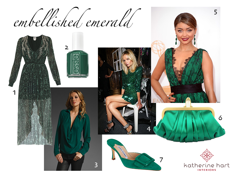 """1. Haute Hippie Embellished Chiffon Dress   2. Essie  Polish  in """"Going Incognito""""  3. Haute Hippie  Cowl Blouse   4. Kate Bosworth in a gorgeous sequin mini dress  5. Sarah Hyland in CH Carolina Herrera at the 2013 Emmy Awards  6. Christian Louboutin Loubi Croissant  Clutch   7. Manolo Blahnik Maysale  Mules"""