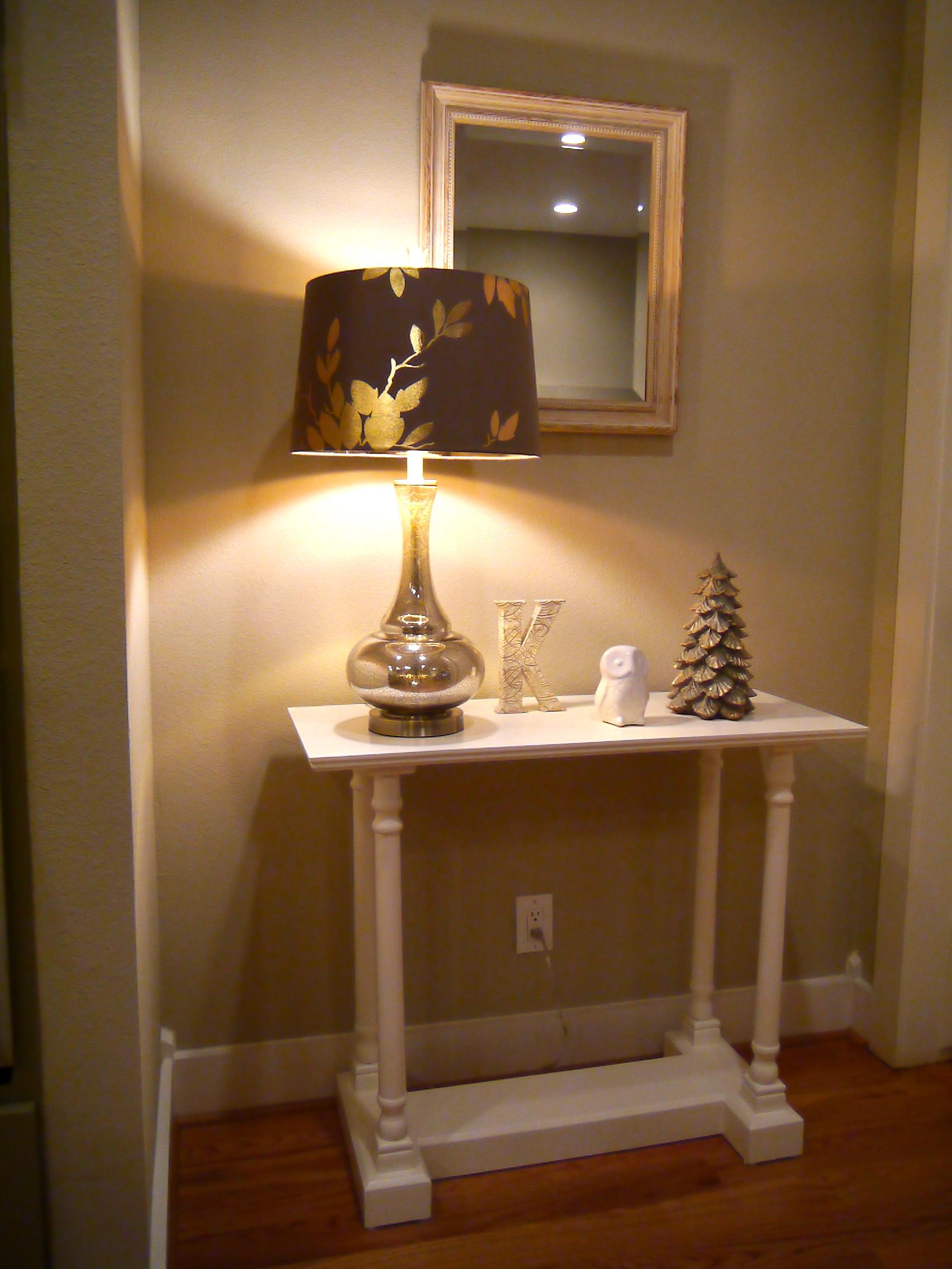 Lamp  /  Monogram Letter  /  Owl  /  Tree Candle  (similar) /  Table  (similar) / Mirror (custom)