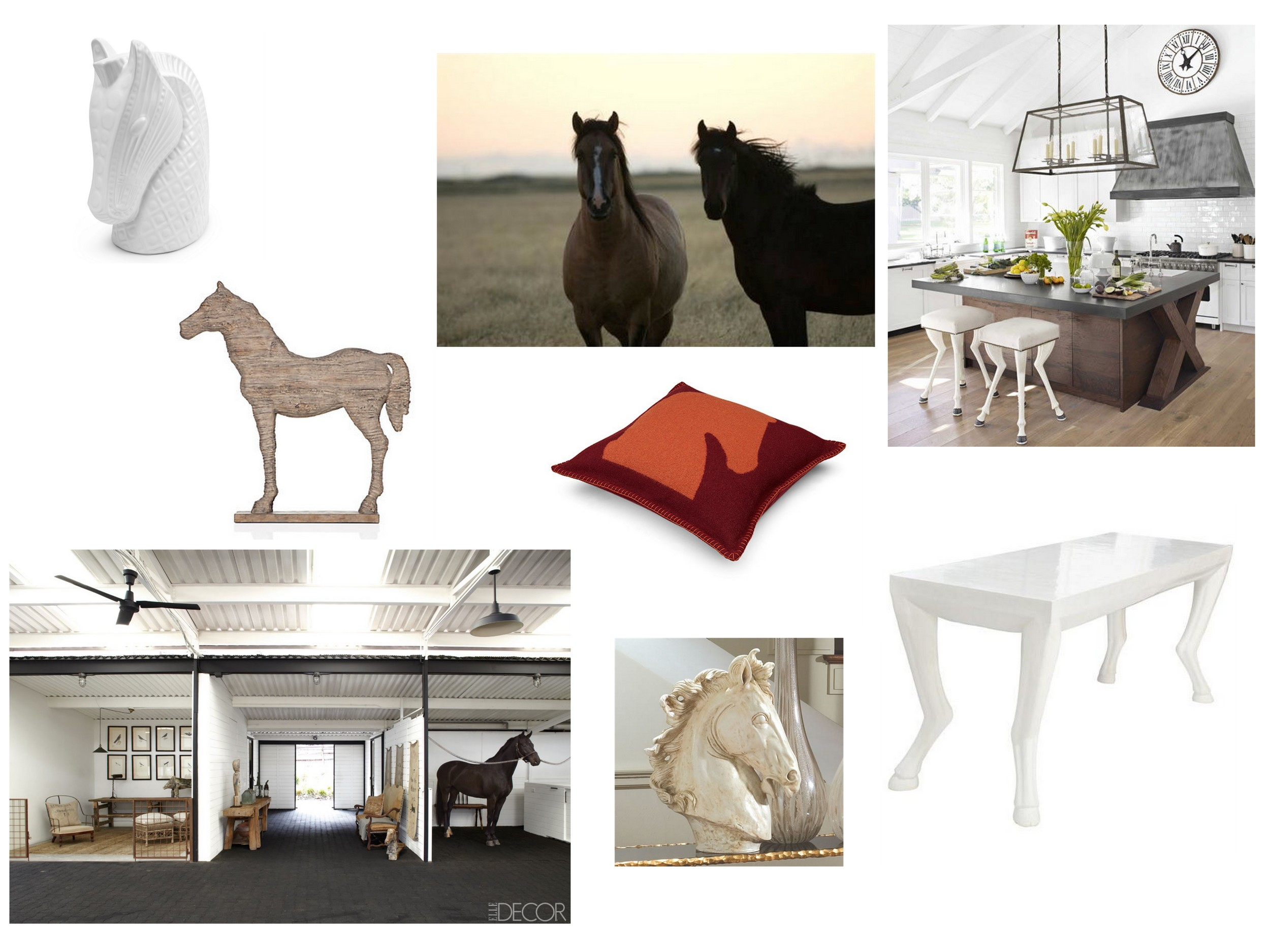 Clockwise from top:  Horse Patagonia  by Leftbank Art | Horse Leg Stools in  House Beautiful  | Samarcande  Pillow  by Hermes |  Faline Library Table  by Oly Studio | Marble Horse Head  Sculpture  by Global Views | Ellen DeGeneres and Portia de Rossi's Horse Barn in  Elle Decor  |  Faux Driftwood Horse  by Z Gallerie |  Ceramic Horse  by Jonathan Adler