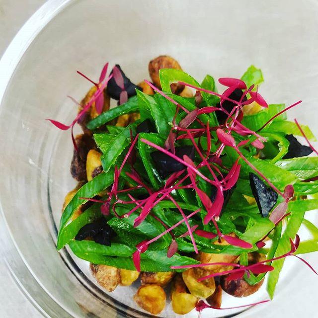 garnish this week.  Black Garlic Pistachio Green onion Micro Amaranth  #localrootschef #personalchef #local #kaukauna #wisconsin #eatclean #foxcities