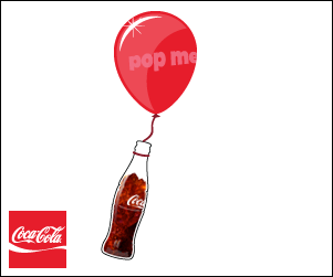A coke bottle is tied to a floating balloon. The bottle and balloon seem to turn in 3-D space as they bob back and forth.