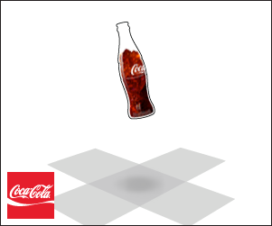 The bottle lands in the center of a flattened box.