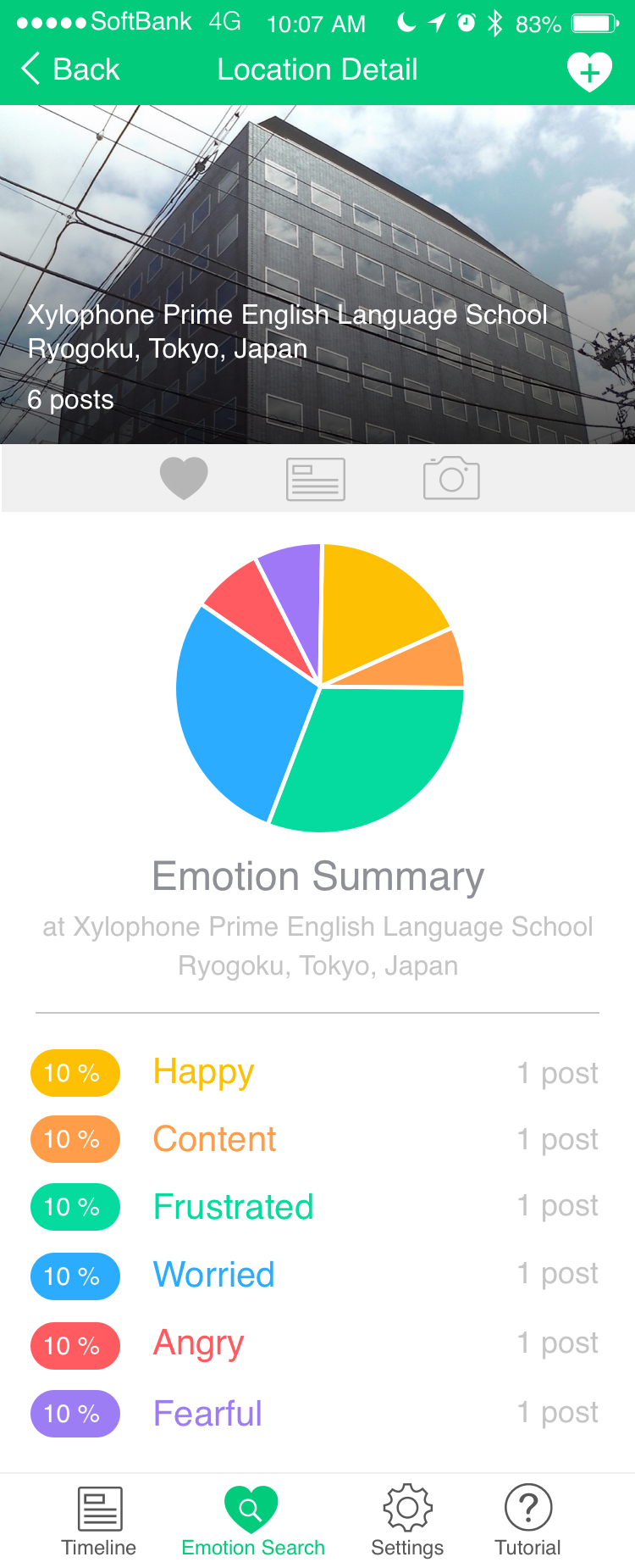 Emotion search / by location / detail