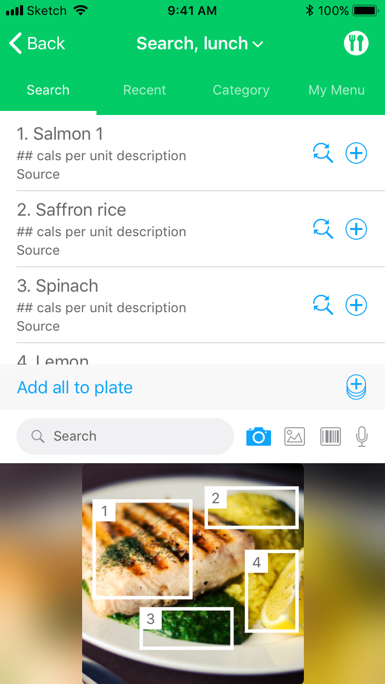 Search tab / search by camera