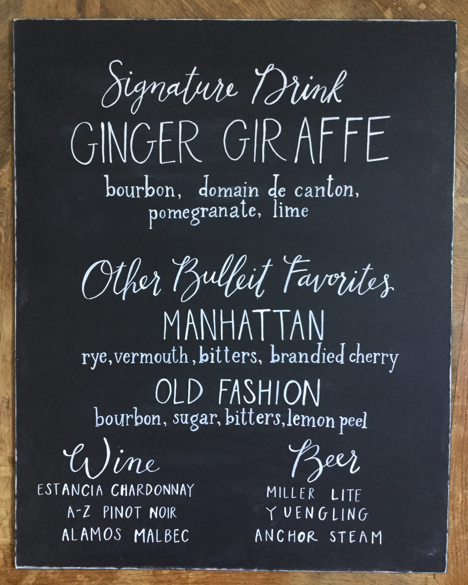 chalkboard bar menu / signature drink  // calligraphy and lettering by hello, bird.