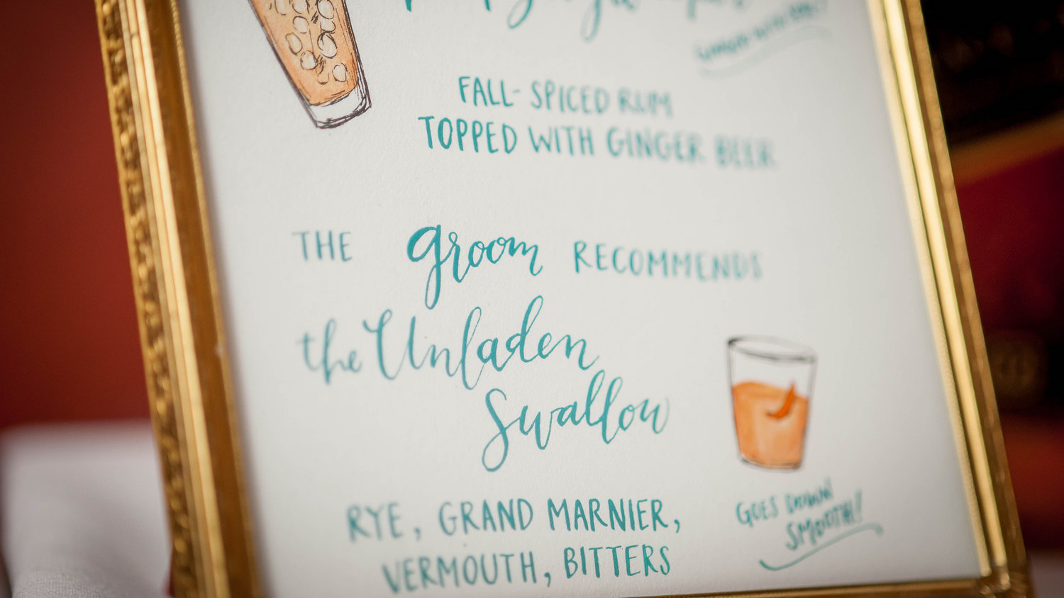 photo courtesy of Ashley Peterson Photography // custom signature cocktail menu + calligraphy by hello, bird.