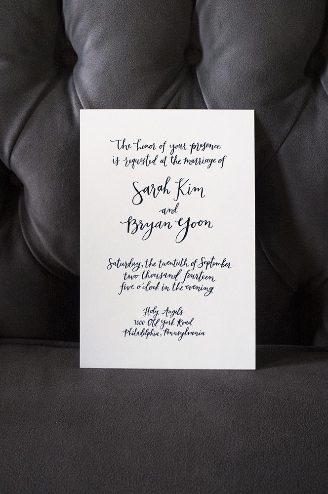 Sarah + Bryan's custom oversized black and white invitation by hello, bird.