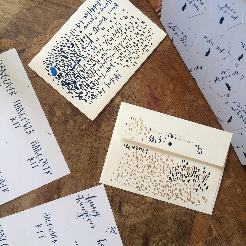 Scratch paper is my favorite. // Escort cards drying just below the desk. // // hello, bird. studio tour.