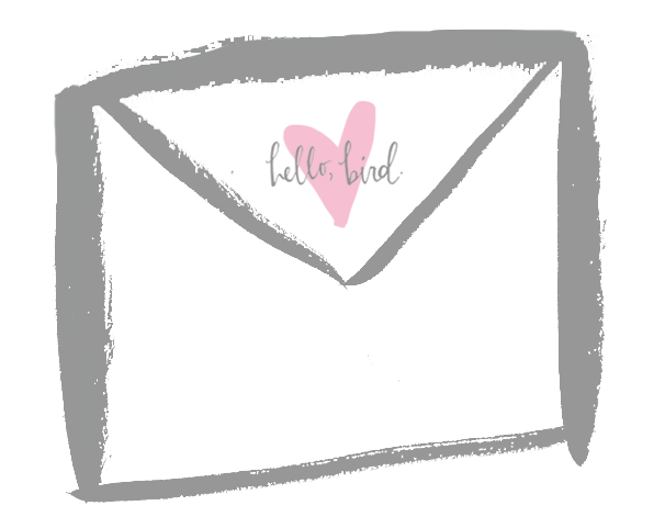 hello, bird. love letters illustration.