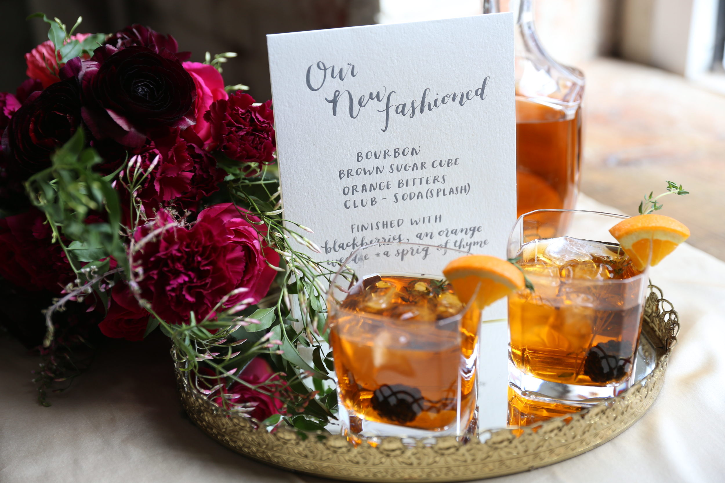 signature cocktail menu by hello, bird. // photo courtesy of emma mcdonald photography // florals by hello darlington