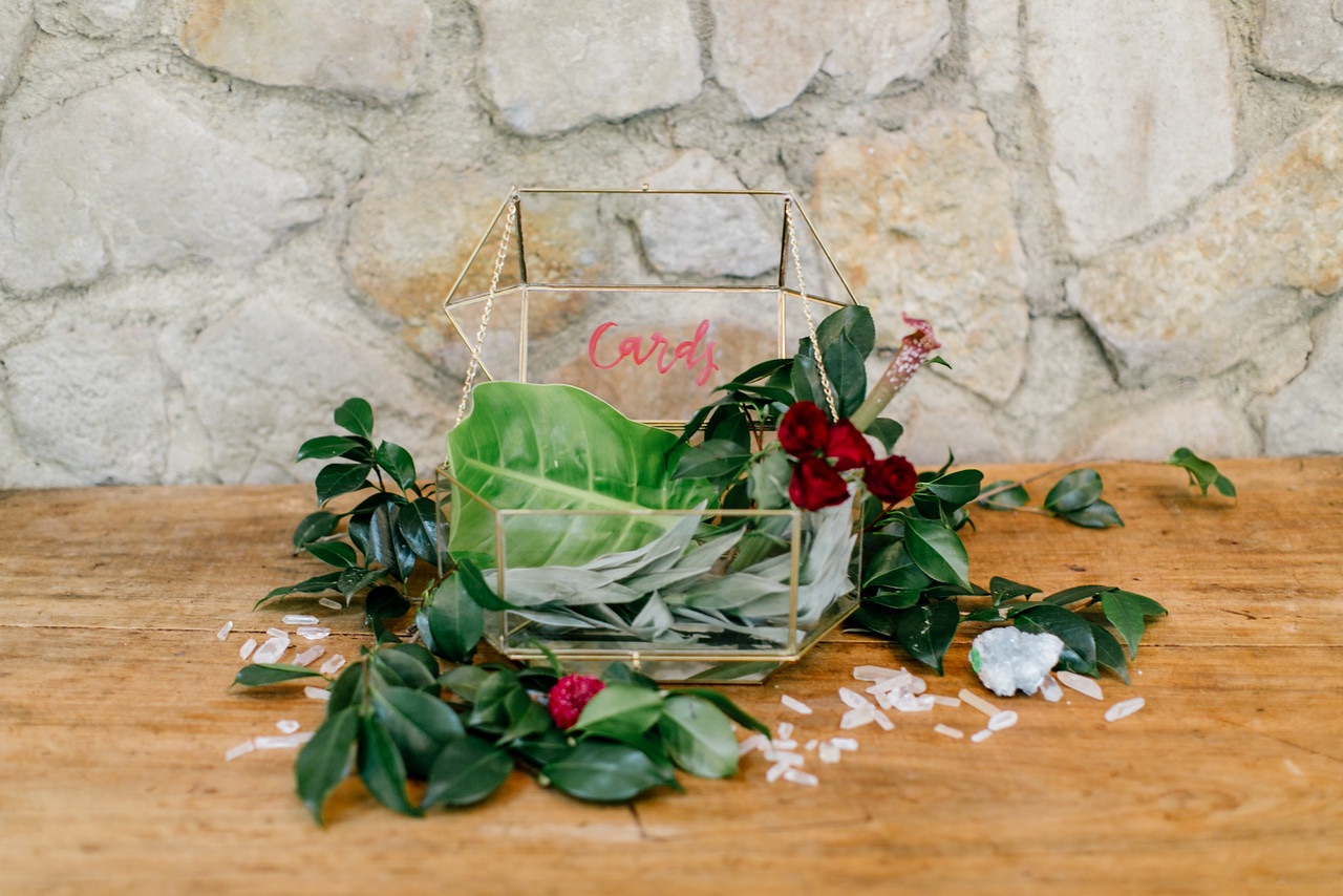 hello, bird. red ink calligraphy on geometric glass card box // photo courtesy of Emily Wren Photography