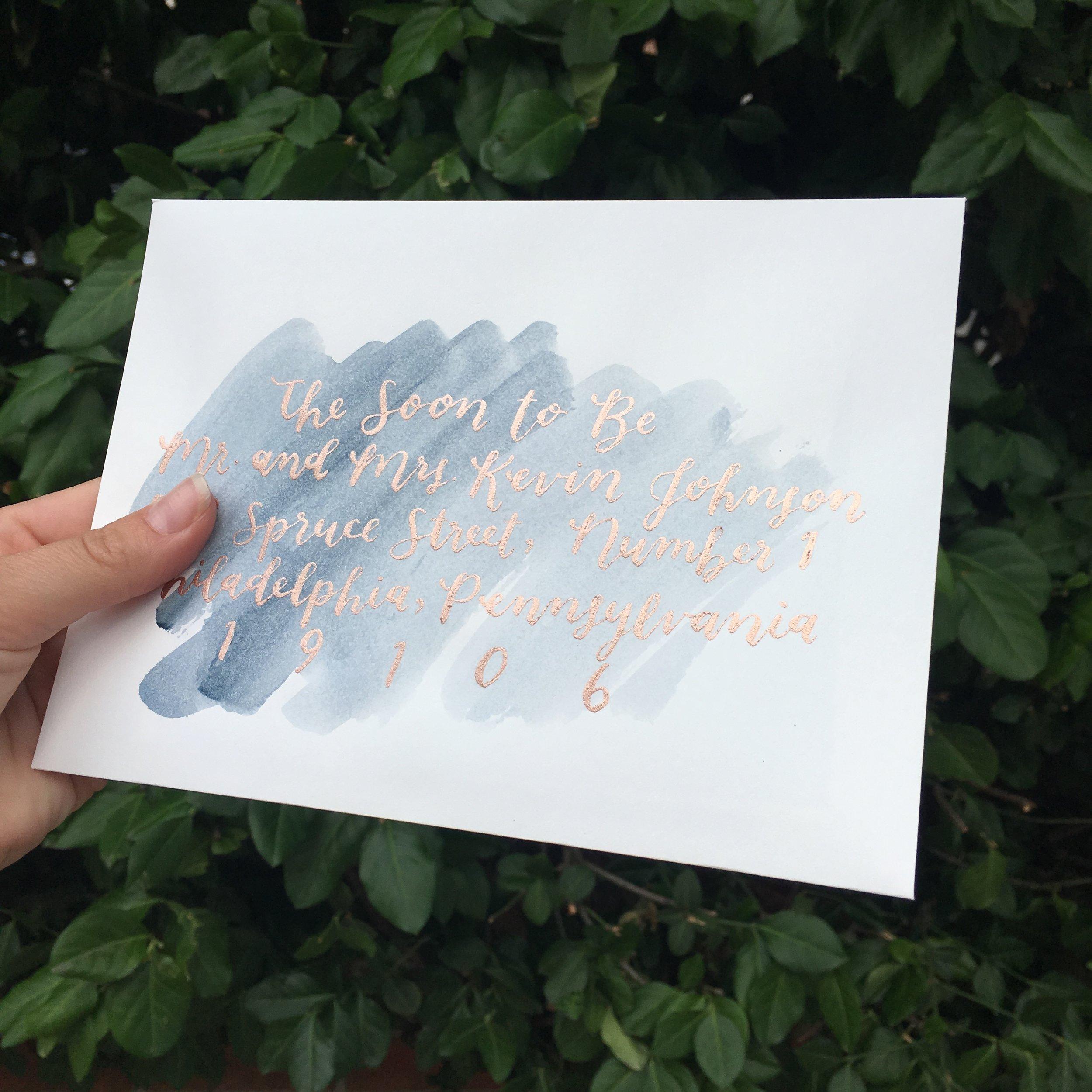 signature script shown with watercolor wash
