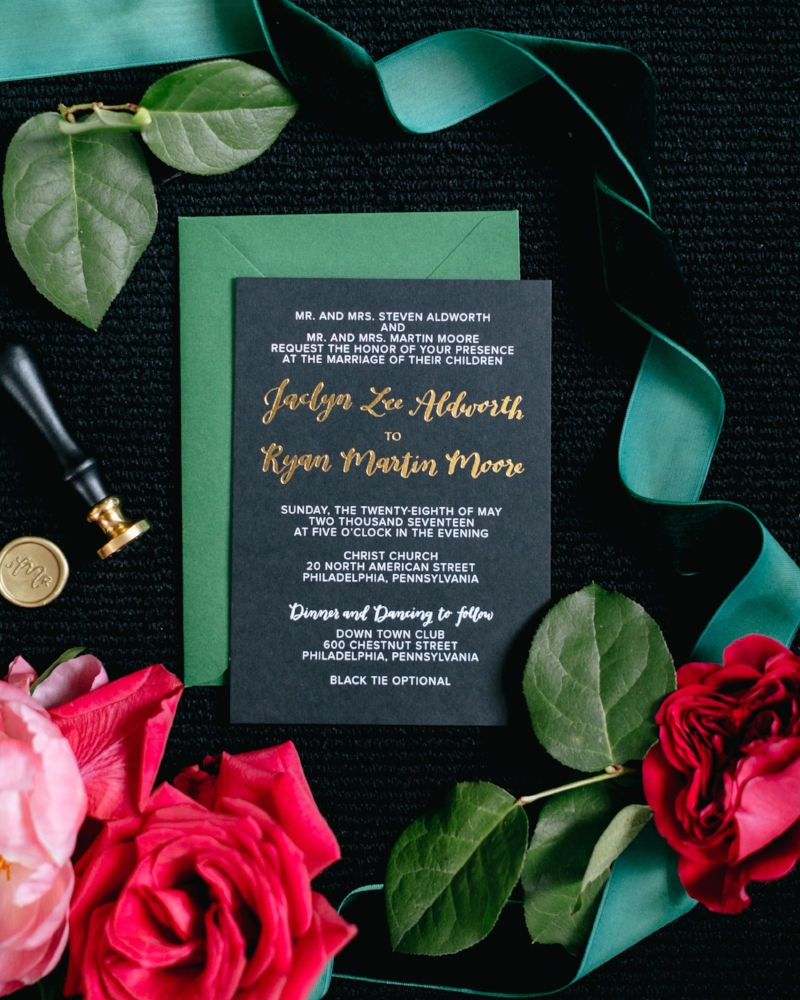 Jaclyn + Ryan's invitation suite by hello, bird. // photo courtesy of Emily Wren Photography