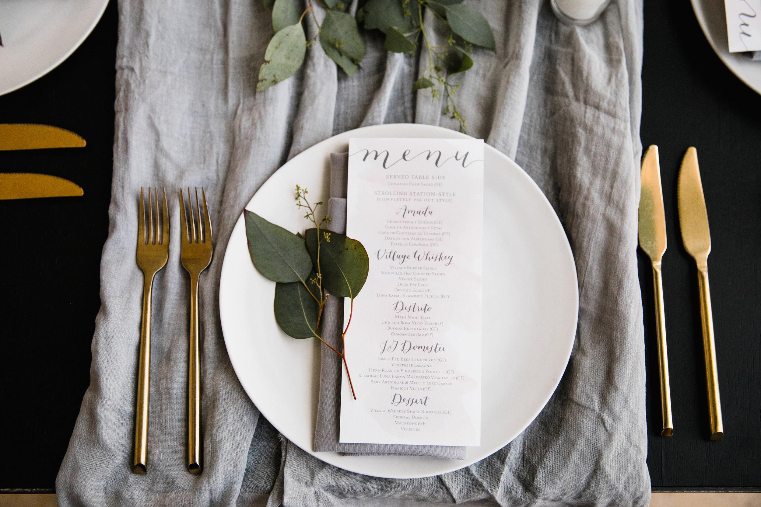 wedding menus by hello, bird. // hand-dyed textiles by hello, bird. // photo courtesy of Love Me Do Photography