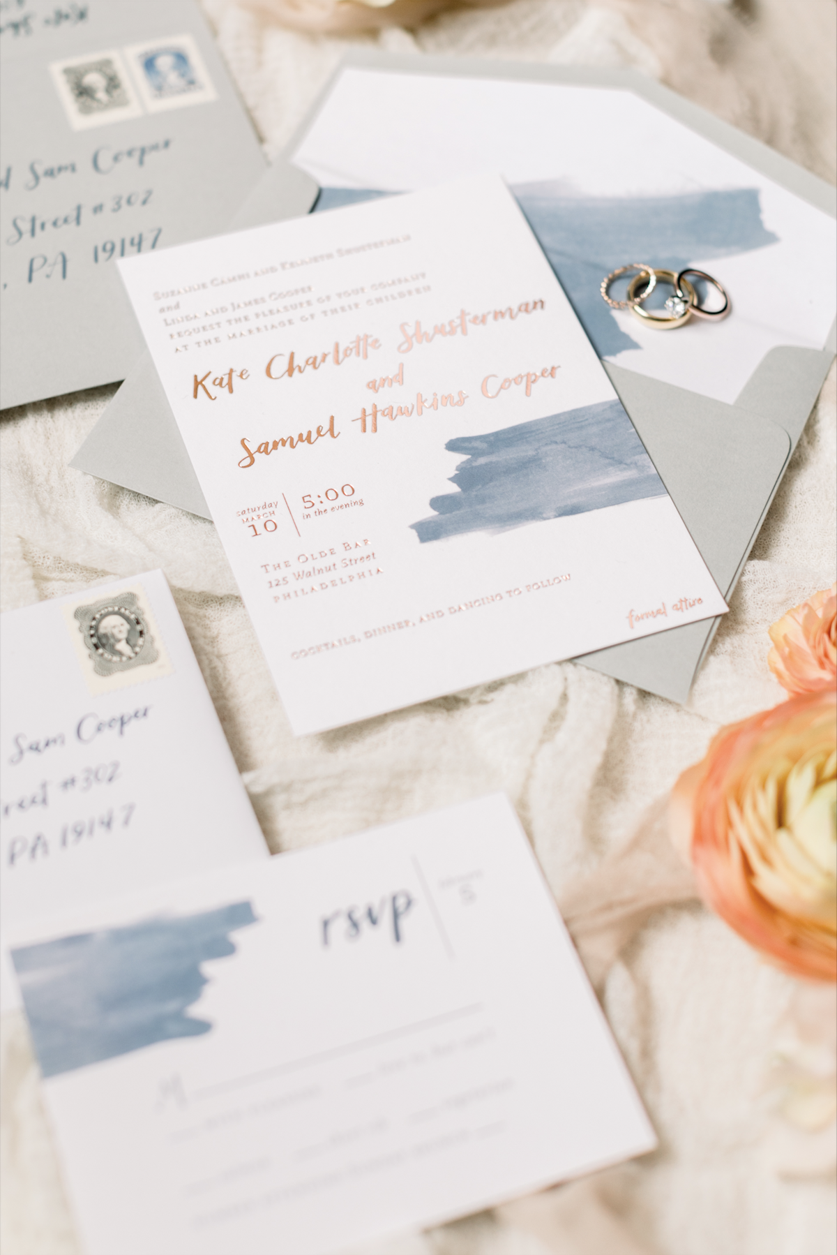 Kate + Sam's invitation suite by hello, bird. // photo courtesy of Emily Wren Photography