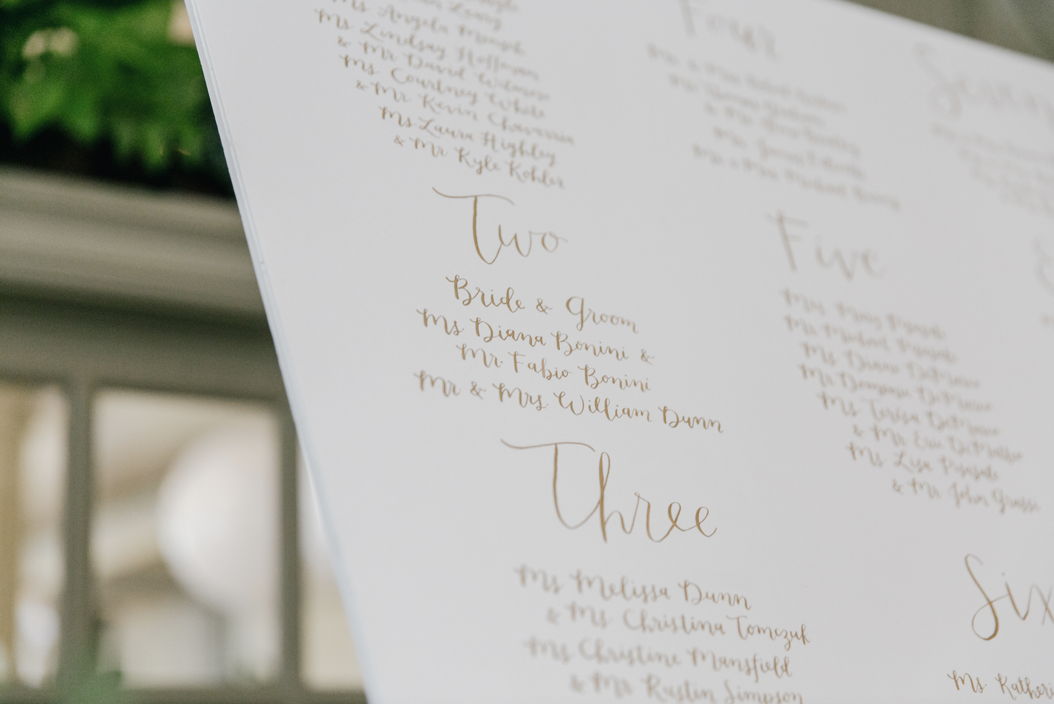 Jen + Billy's Philadelphia wedding // detail of gold ink seating chart by hello, bird. // photo by Emily Wren Photography
