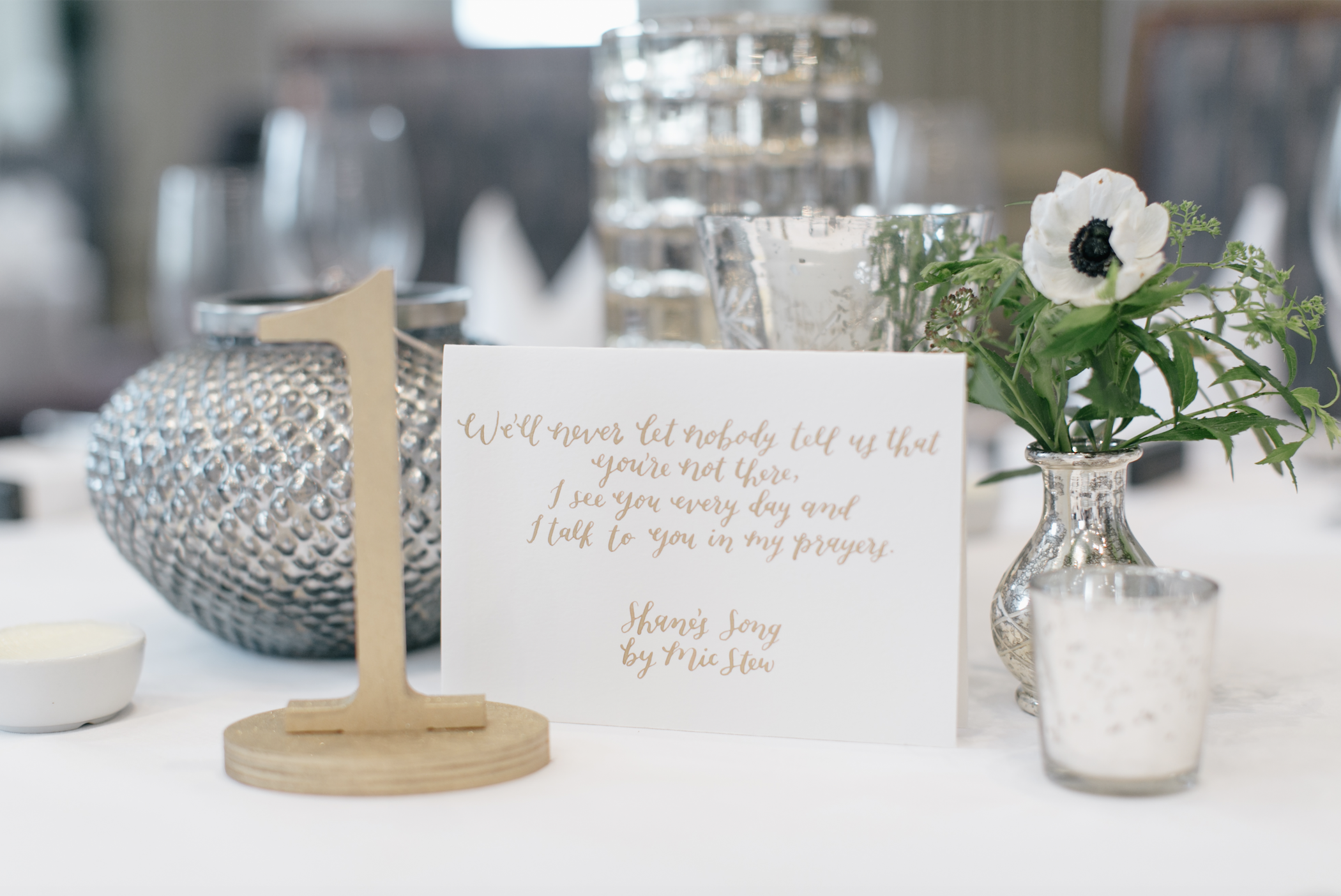 Jen + Billy's Philadelphia wedding // gold ink calligraphy sign by hello, bird. // photo by Emily Wren Photography