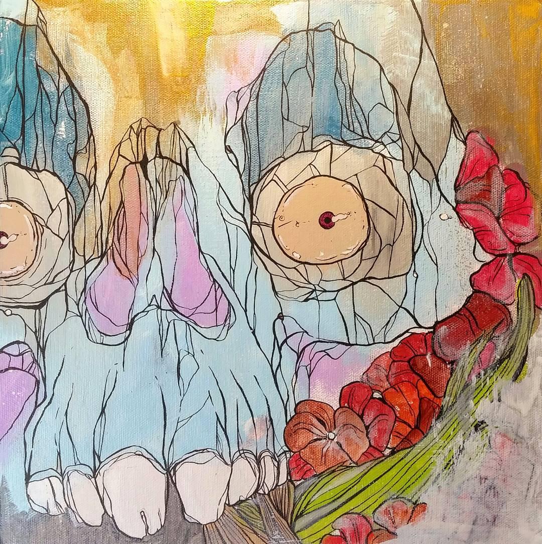 "WASKULL / acrylic + ink / 16"" x 16"" on canvas"