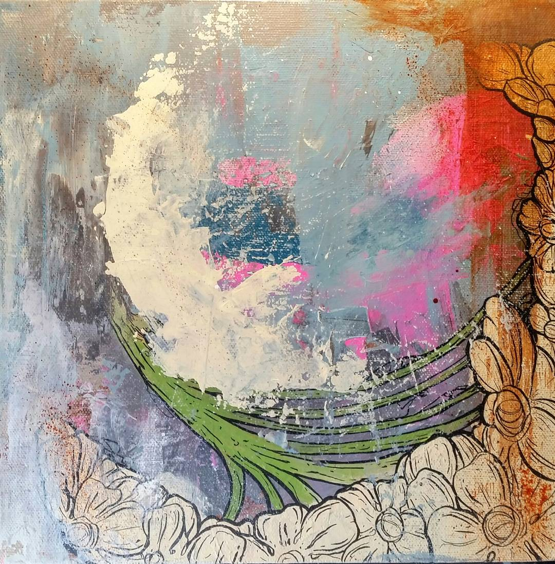 "FLOURISH / acrylic + ink / 10"" x 10"" on canvas"
