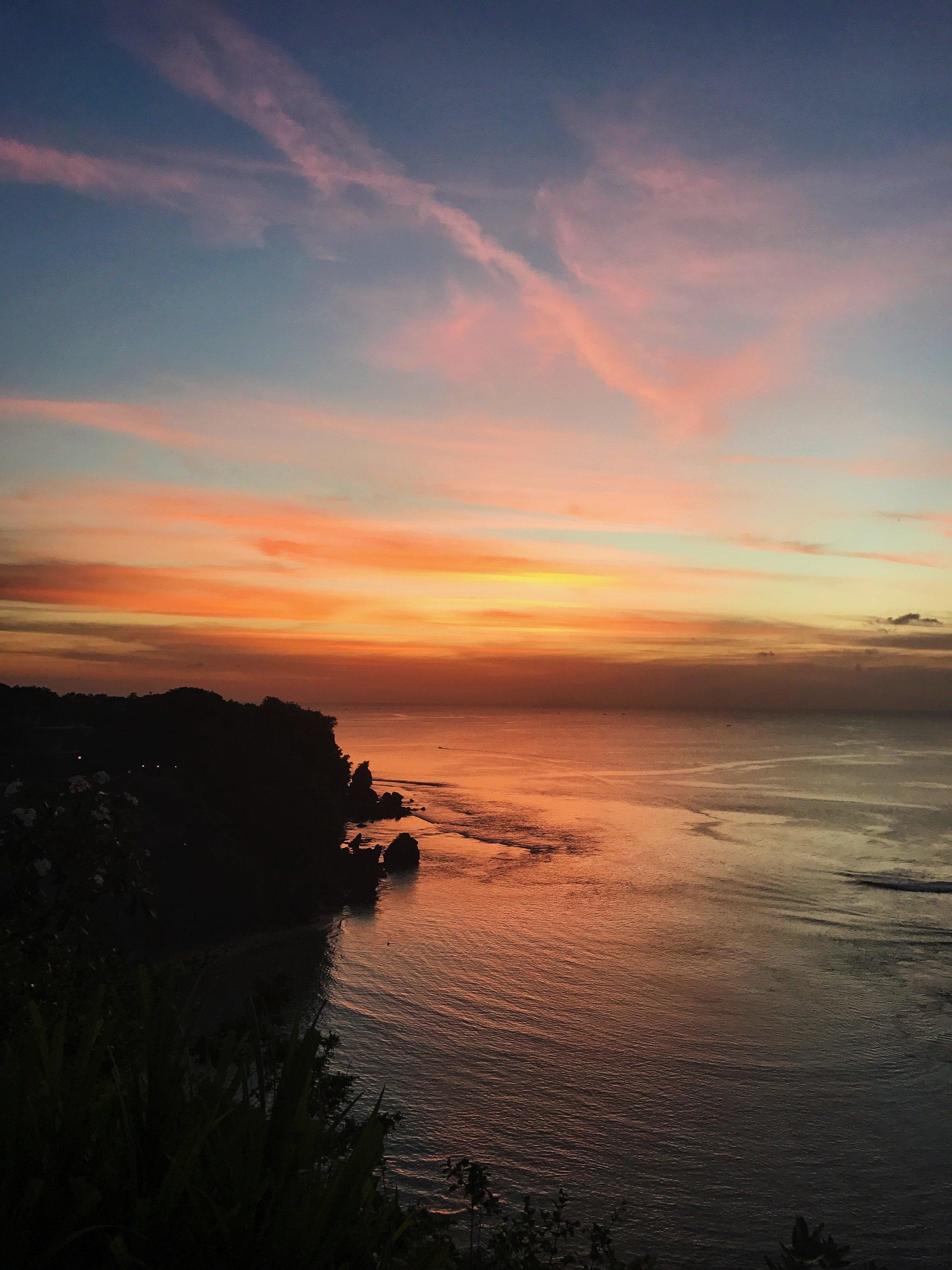 Bali Padang Padang Beach Uluwatu Cliff Sunset