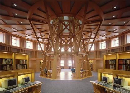 Carpet design, wall color, Denver Public Library reading room, Michael Graves architect