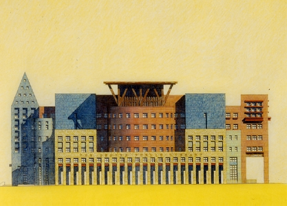 Color pencil rendering on yellow trace, for Michael Graves architect