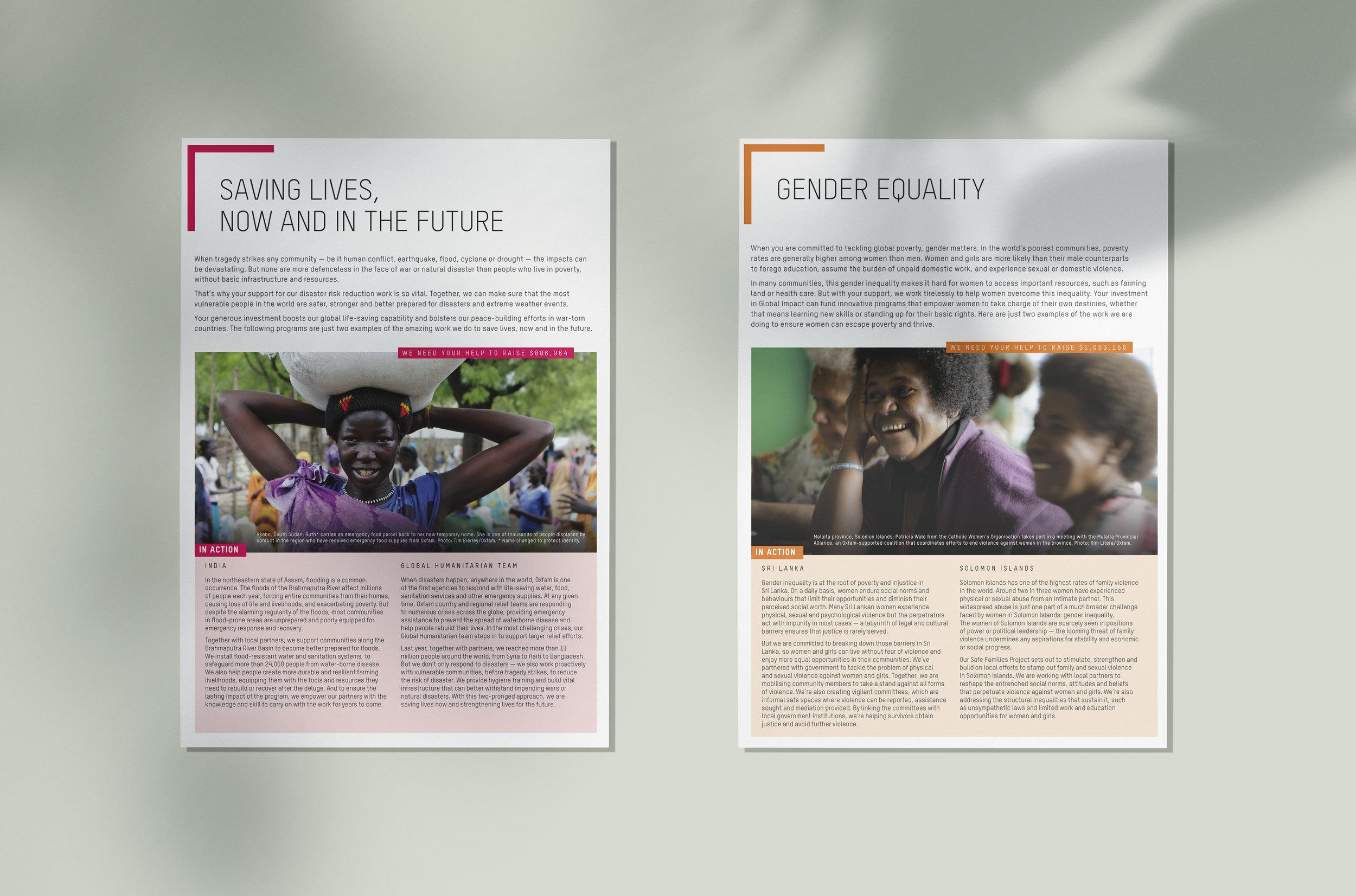 Oxfam Global Impact factsheets