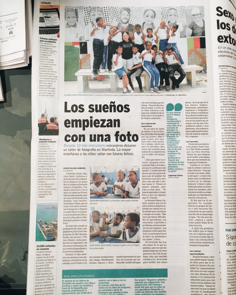 100cameras x Inside Out Collaboration reported in full spread of El Universal. See article  HERE .