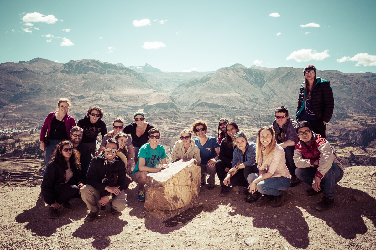 Our group in Peru, with our Argentinian tour leader and travelers from Australia, the UK, New Zealand, Ireland, and Thailand.