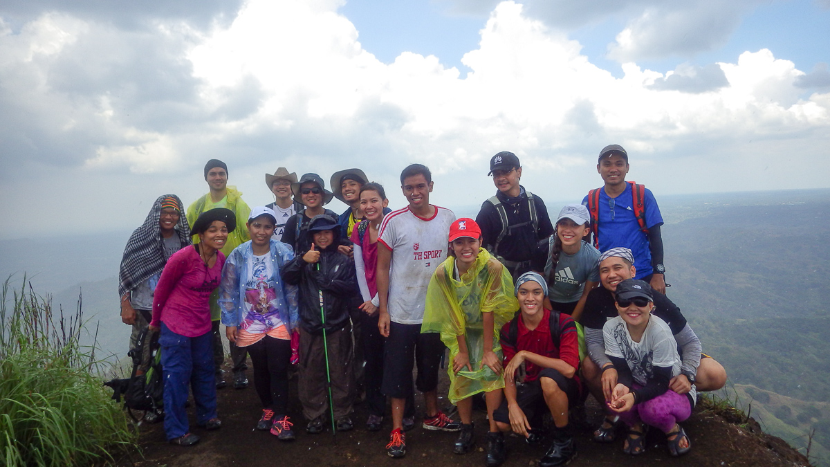 At the summit of Mt. Batulao right as rain was beginning to pour. (Pic c/o Em Badoy.)