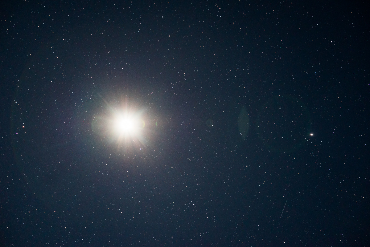 Part of the planetary alignment that was happening during this month. Jupiter is on the right.