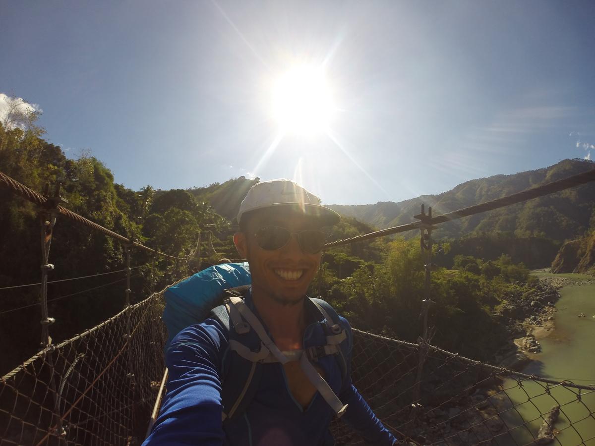 A selfie of triumph at the hanging bridge