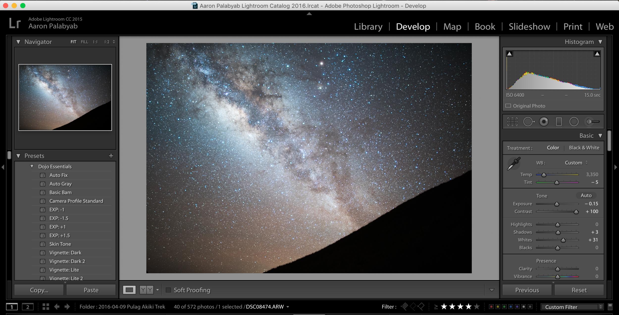 Processing a RAW image using Adobe Photoshop Lightroom CC