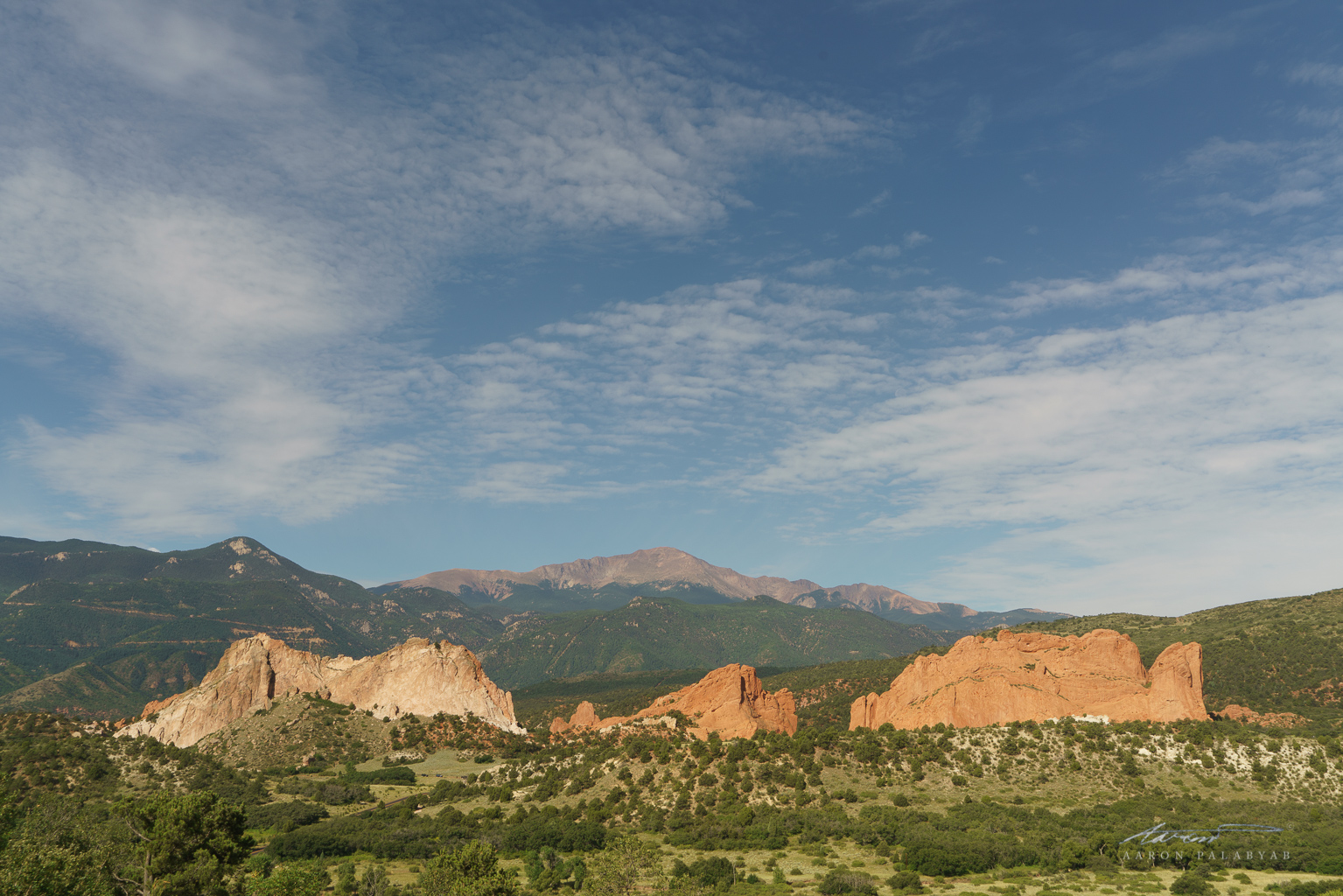 The Garden of the Gods, one of America's best National Parks, and in the distance, 14,000-ft Pike's Peak