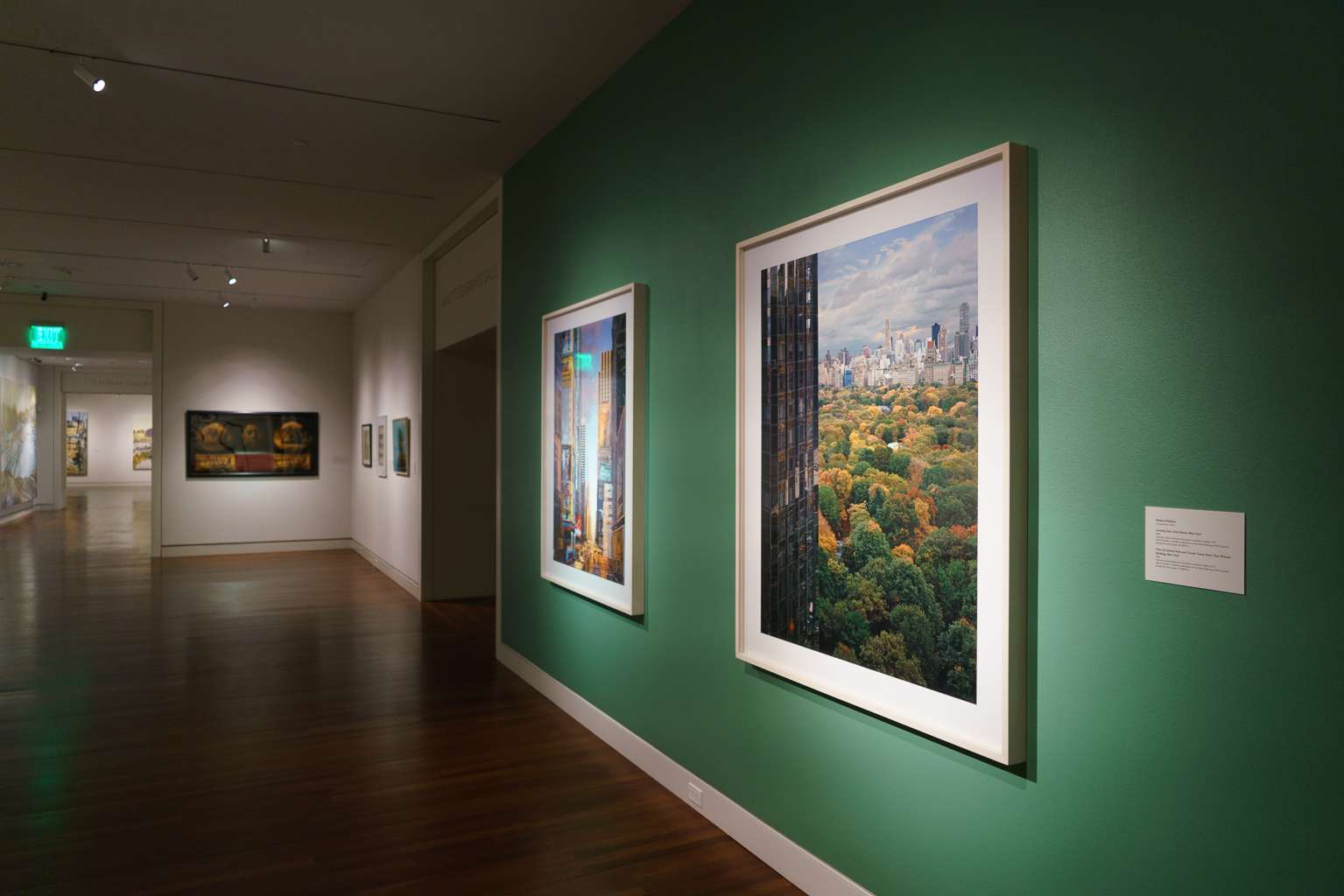 """Robert Polidori's """"Looking East, 42nd Street, New York"""" (2002) and """"View of Central Park and Trump Tower from Time Warner Building, New York"""" (2003), two massive c-prints"""