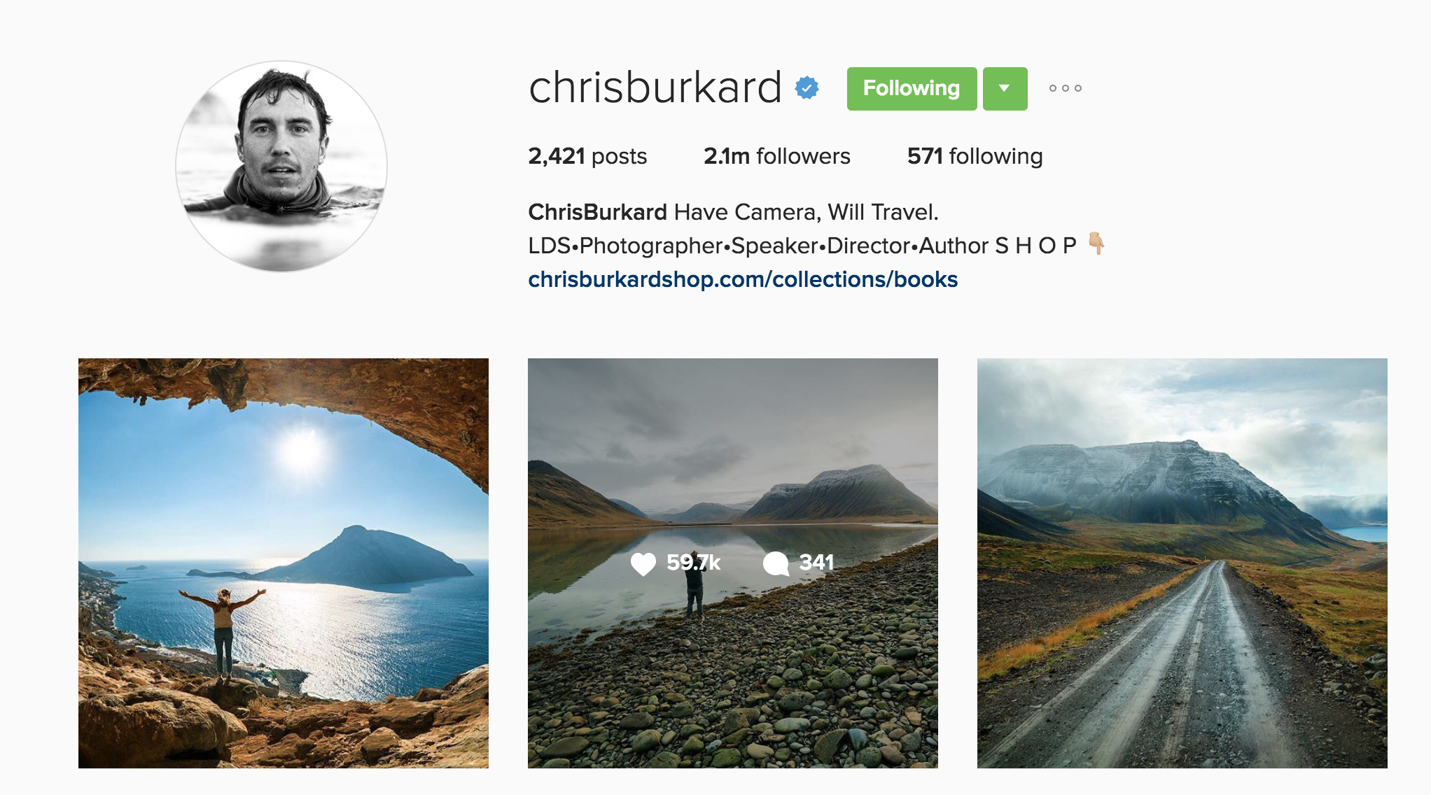 Screenshot from @chrisburkard's Instagram account with over 2 million followers and counting