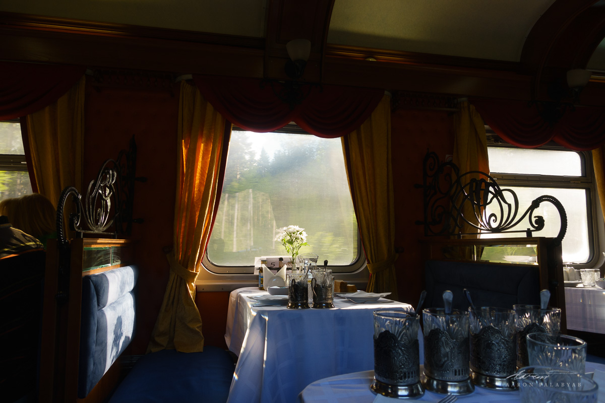 Mornings in the dining car, awaiting breakfast