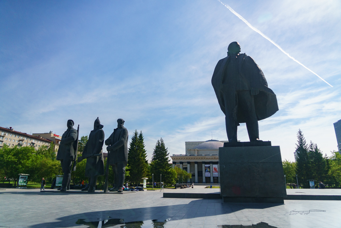 At Lenin Square near the Opera House in Novosibirsk