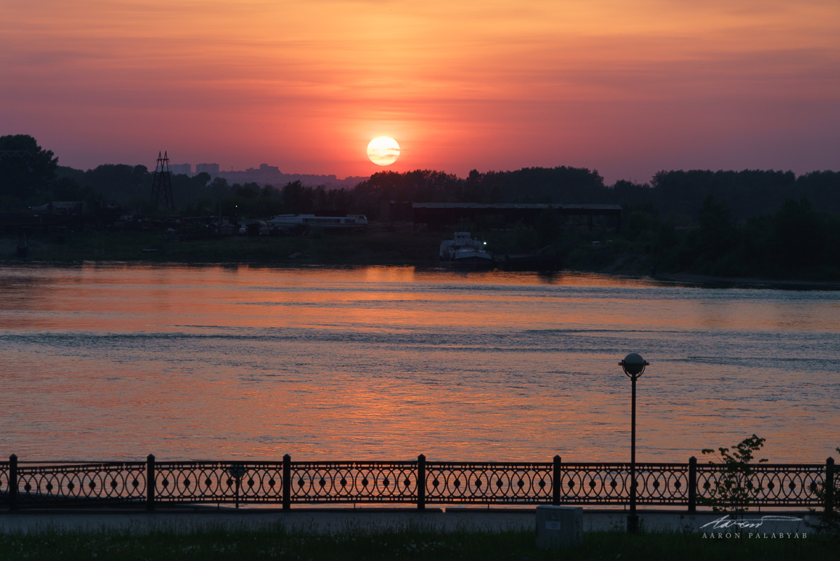 Perfect sunset over the Angara River