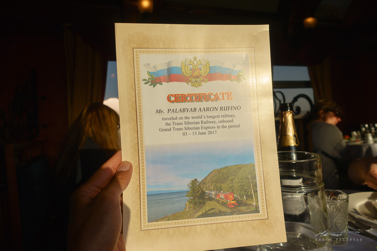 Certificate for traveling on the Trans-Siberian Railway