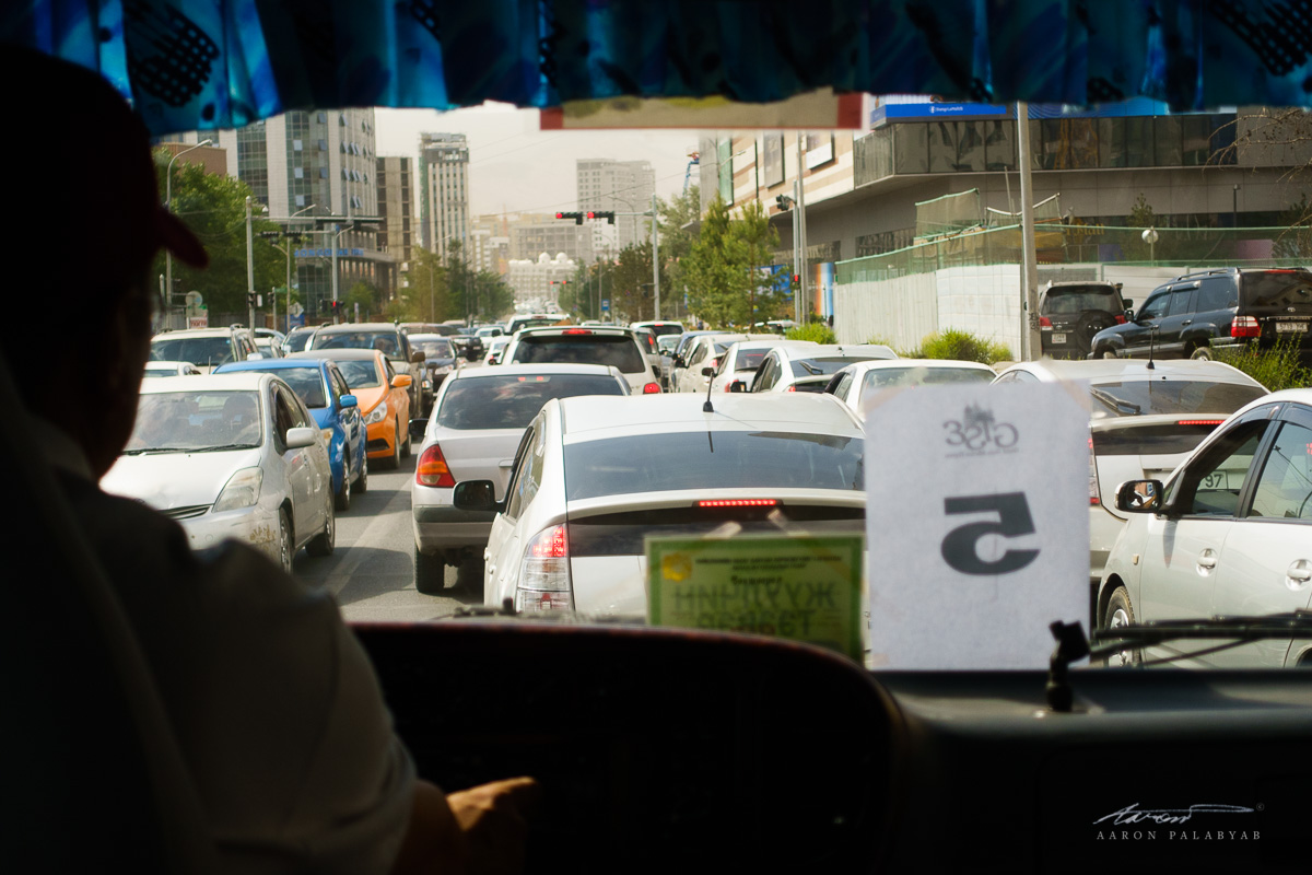 Typical rush hour traffic at Ulaanbaatar